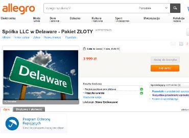 Spółka z Delaware także na Allegro